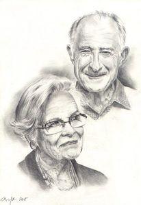 Portrait, Zeichnen, Bleistiftzeichnung, Brille