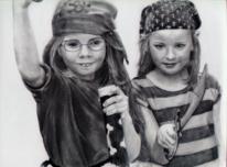 Pirat, Bleistiftzeichnung, Mädchen, Zeichnung