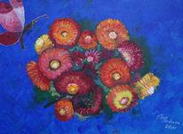 Schmetterling, Strohblumen, Blau, Malerei