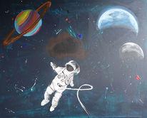 Astronaut, Weltall, Erde, Mond