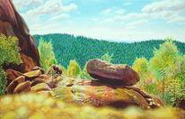 Naturmalerei, Spektralfarbe, Wald, Fichte
