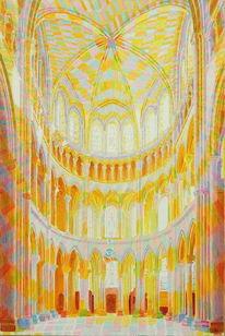 Kirche, Gewölbe, Pfeiler, Malerei