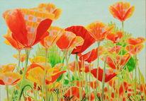 Gegenständlich, Blumenfeld, Natur, Naturmalerei