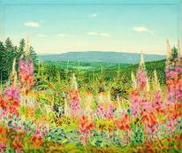 Sonnenlicht, Weite, Landschaftsmalerei, Naturmalerei