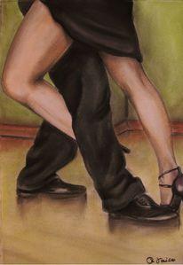 Pastellmalerei, Tanz, Bein, Tango