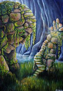 Felsen, Wasser, Treppe, Schwert
