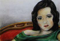 Frisur, Frau, Pastellmalerei, Malerei