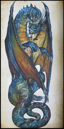 Drache, Fantasie, Aquarell