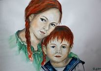 Kinder, Geschwister, Rot, Aquarell