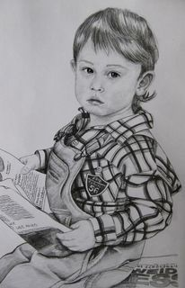Kind, Lesen, Zeitung, Bleistiftzeichnung