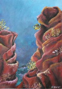 Acrylmalerei, Qualle, Malerei, Korallen