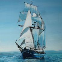 Meer, Segelschiff, Malerei