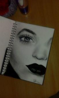 Portrait, Gesicht, Schwarzweiß, Skizzenblock