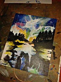 Universum, Liebe, Acrylmalerei, Malerei