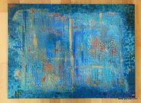 Gold, Abstrakt, Blau, Acrylmalerei