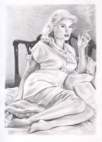 Portrait, Rauchen, Blond, Figural