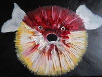Kugelfisch, Rot, Surreal, Verschmutzung