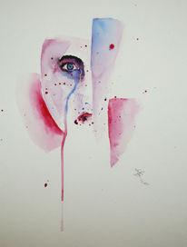 Meinung, Gesicht, Aquarellmalerei, Aquarell