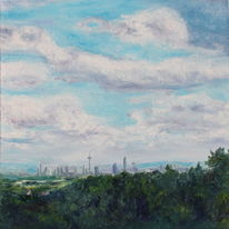 Landschaft, Wald, Wolken, Skyline frankfurt