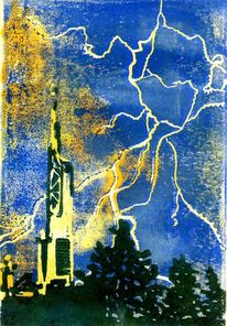 Turm, Blitz, Gewitter, Skyline frankfurt