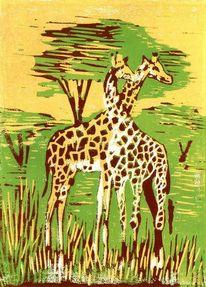 Afrika, Savanne, Giraffe, Druckgrafik