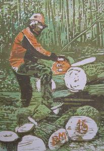 Baum, Holzfäller, Holzschnitt, Druckgrafik