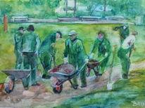 Schubkarre, Grün, Park, Arbeit