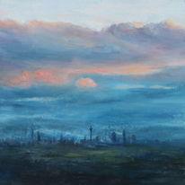 Landschaft, Skyline frankfurt, Wolken, Turm