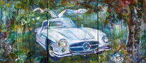 Flügel, Auto, Mercedes, Malerei