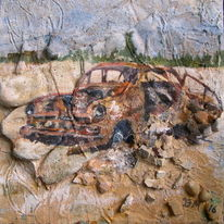Oldtimer, Stein, Collage, Wrack
