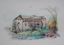 Drawing mix ink, Zeichnung, Tuschmalerei, Burg