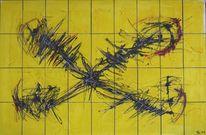 Perfomance, Gelb, Malpappen, Rot schwarz