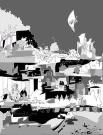 Mischtechnik, Landschaft, Abstrakt, Schwarzweiß
