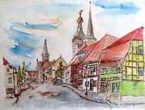 Burg, Baukunst, Breiter weg, Zeichnung