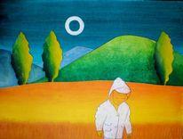 Nachtstimmung, Abend, Gemälde, Baum