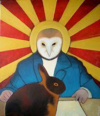 Hase, Surreal, Tiermensch, Gemälde