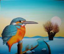 Eisvogel, Wiese, Pfahl, Malerei