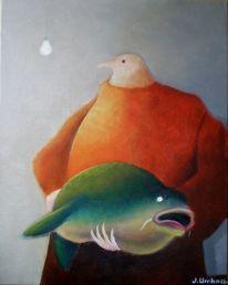 Gemälde, Fisch, Glühlampe, Karpfen