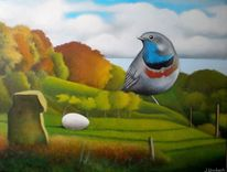 Natur, Herbstlaub, Malerei, Surreal