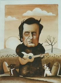 Musiker, Illustration, Johnny cash, Musikant