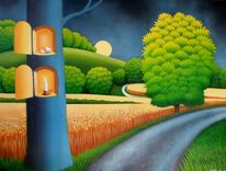Baum, Kornfeld, Gemälde, Nachtstimmung