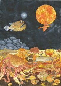 Tiefsee, Scholle, Muschel, Fische