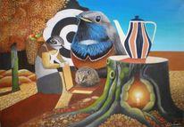 Herbst, Gemälde, Baumhöhle, Blaukehlchen