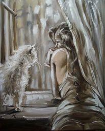 Figural, Katze, Ölmalerei, Engel