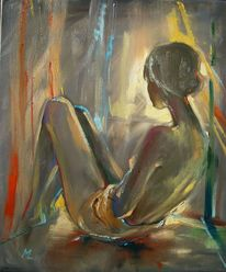 Ölmalerei, Mädchen, Regen, Licht