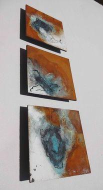 Schwarz weiß, Abstrakt, Blau, Malerei