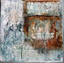 Acrylmalerei, Libelle, Mischtechnik, Rost