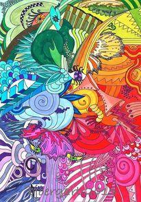Zeichnung, Chaos, Farben, Ii popart