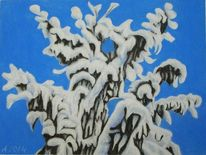 Pastellmalerei, Tanne, Blau, Natur