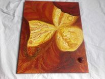 Pointillismus, Blumen, Natur, Acrylmalerei